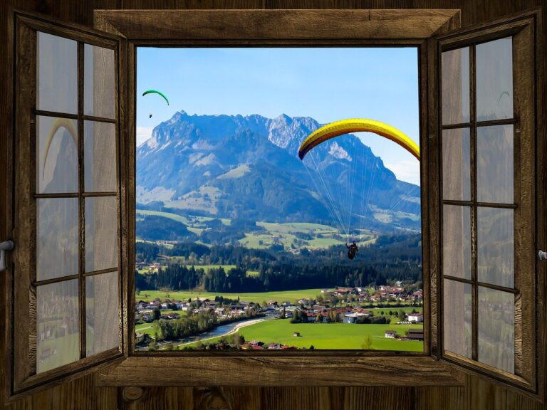 window, outlook, mountains